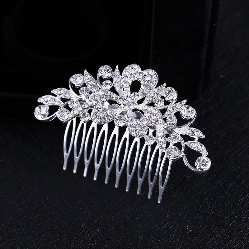 New woman s rhinestone crystal silver plated heart petal double deck  flowers bling Hair Comb Tiara Prom Wedding Accessories NEW-in Hair Jewelry  from Jewelry ... e39d8bba50af