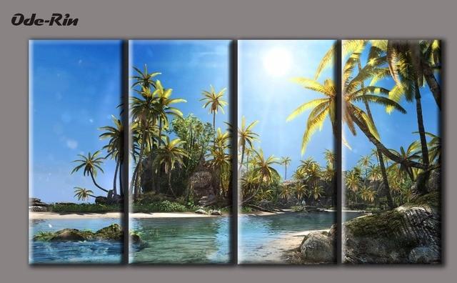 Fesselnd Mediterranen Stil Landschaft Malerei Rahmenlose Vervierfachen Die  Wohnzimmer Ist Dekoriert Schlafzimmer Amerikanischer Dekoration