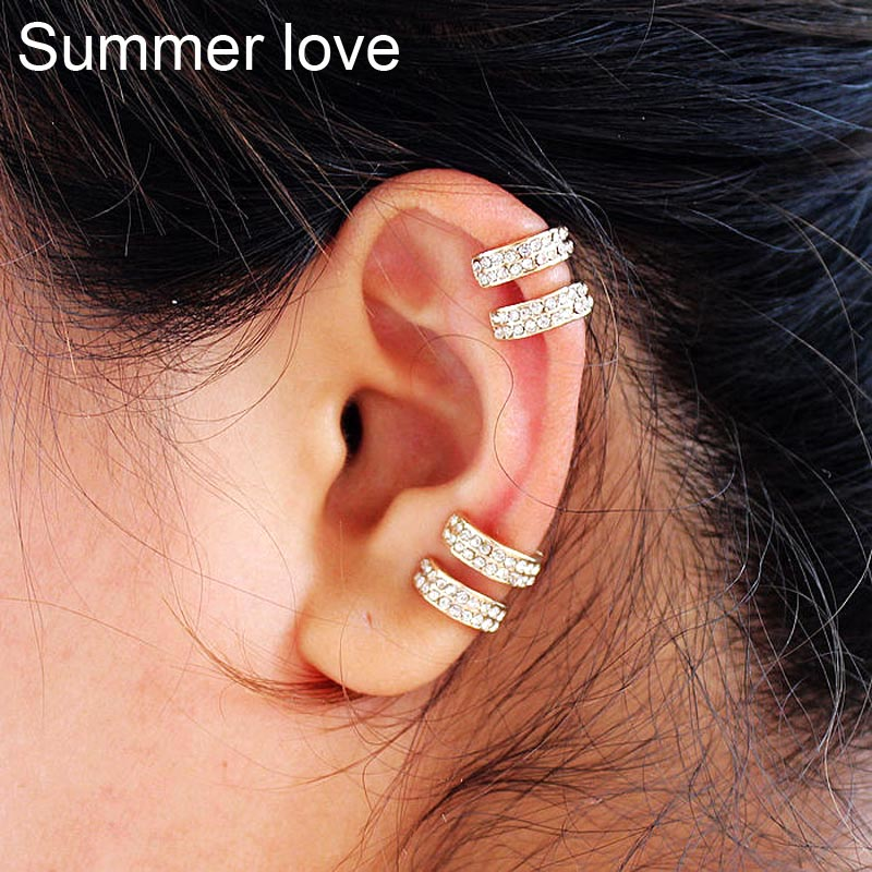Fashion Clip Earrings Women Silver Gold Color Ear Cuff Punk Rock Crystal Earrings High Quality Pendientes Jewelry