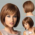Party Cosplay Wig Women Fashion short Straight Wig Bob Cut hairstyle Costume synthetic hair Brown Wig female Peruca Pelucas