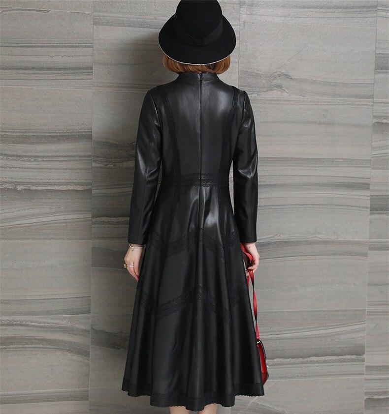 De Neuf Long Véritable Peau Femelle Points Manches Femmes Noir vent Rétro Coupe Veste Mouton Survêtement Cuir En Automne Manteau FSH6Wv