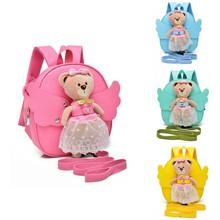 New Design PU Leather Baby Keeper Cute Angel BearAnti-lost Walking Backpack Child Keeper Security Baby Harness Backpack