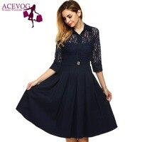 ACEVOG 2017 Vintage Swing Pleated Dress Women Autumn Doll Collar Retro 60s Lace Dresses Pattern Slim