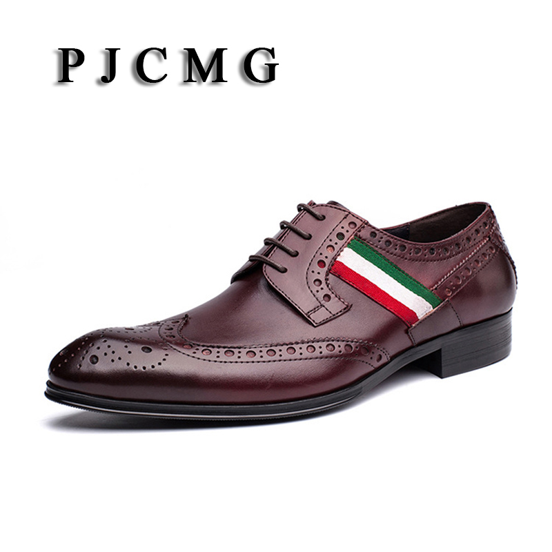 PJCMG Fashion Black/Red Wine Lace-Up Pointed Toe Striped decoration Genuine Leather Business Formal Casual Oxfords Shoes For Man pjcmg high quality crocodile grain black wine red mens lace up dress genuine leather pointed toe business formal oxfords shoes