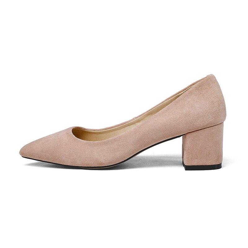 Printemps Carrés Femmes Haute Pointu Chaussures gris Dames Peu Bout Qualité noir Wetkiss Flock On Profonde Mode rose Apricot Slip Pompes Talons 6q8YwE