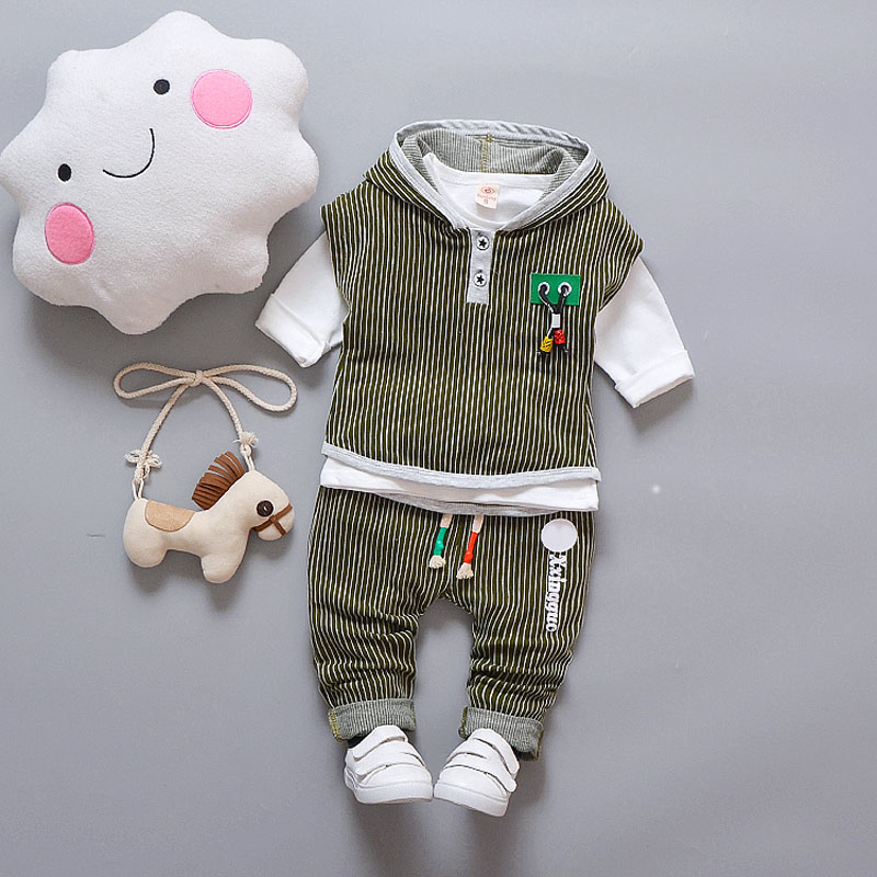 Infant Boy Clothes Children 2018 Spring 3pcs Baby Boys Clothing Sets Striped Hooded Toddler Clothes Sets Boys Set