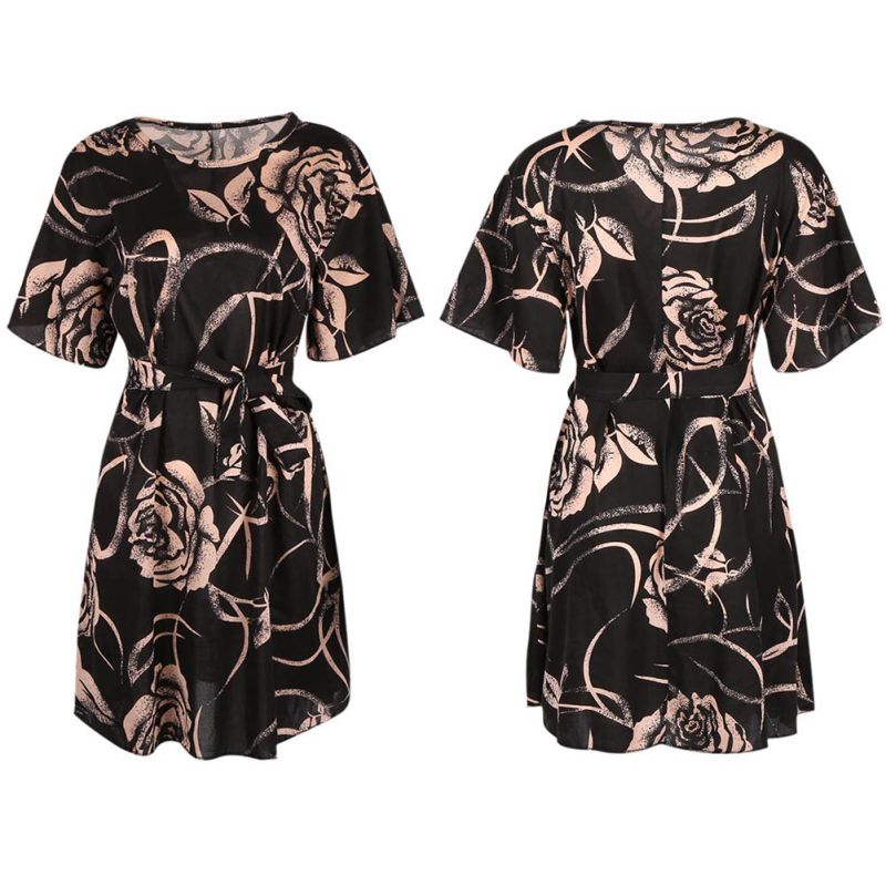 2018 Floral Print Summer Chiffon Dress Women Sexy Voile Short Sleeve Double Ruffles Casual Party Dresses Female
