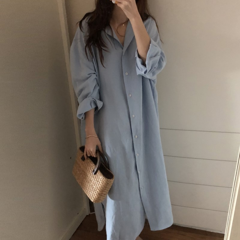 Blue Long Sleeve Long Shirt Dress Spring Casual Patchwork White cotton Dresses Collar Buttons Loose Dresses Robe Femme Vestido 5