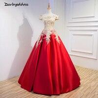 Мода 2017 красное кружево вышитые свадебные платья шикарная напольная длина атласный с коротким рукавом Длинный банкет свадебное Настоящее