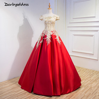 Fashion 2017 Red Lace Embroidery Evening Dresses Luxury Floor Length Satin Short Sleeve Long Banquet Prom