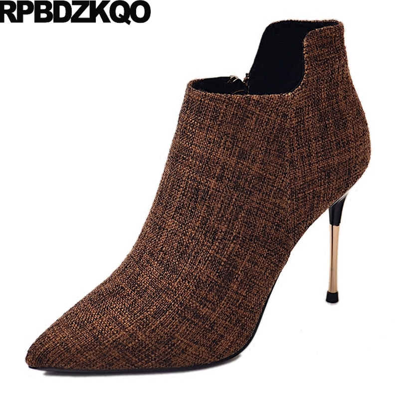 Fur Sexy Winter Pointed Toe Metal Heel Boots Fall Ladies Women Stiletto Ankle Autumn Thin Brown Suede Booties Female Chinese female tassel british 2017 fall autumn high heel booties brown chunky fringe shoes suede round toe women ankle boots medium new