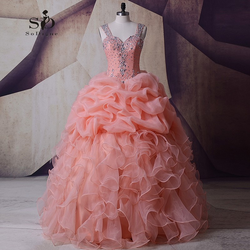 SoDigne Organza Wedding Dress Masquerade Peach Crystals Pink Wedding Gown Plus size Ball Gown Queen Bridal Ruched Newest Coming