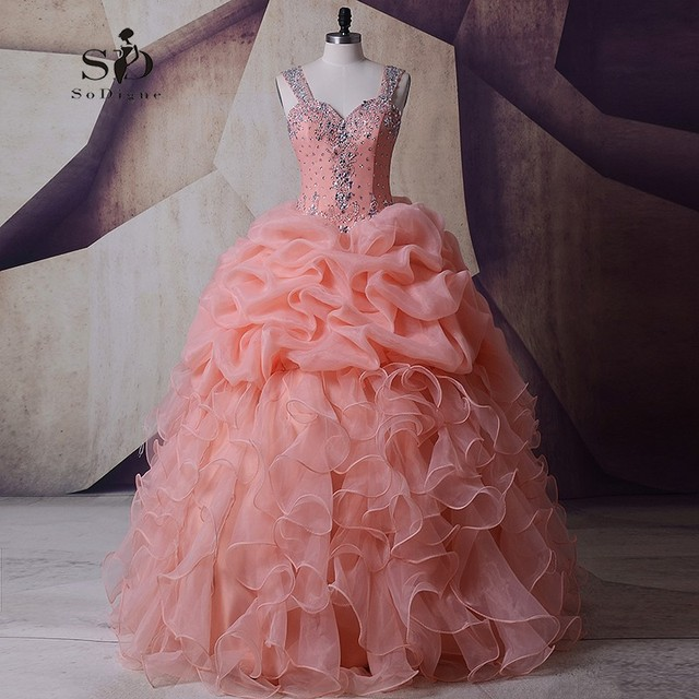 SoDigne Organza Wedding Dress Masquerade Peach Crystals Pink Wedding Gown  Plus size Ball Gown Queen Bridal Ruched Newest Coming 2095c7dfa261