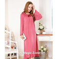 yomrzl L725 new arrival spring and autumn women's nightgown one piece long sleeve sleepwear plus size sleep dress