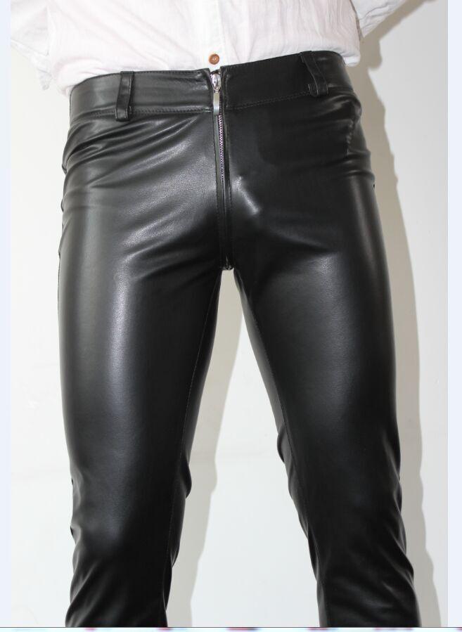 Faux Leather Jeans Men