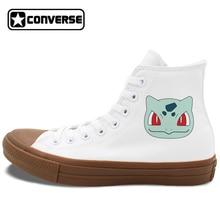 White Black High Top Canvas Sneakers Converse Chuck Taylor II Design Pokemon Bulbasaur Anime Skateboarding Shoes