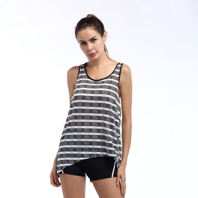 Ladies Workout Tops Sexy Women Yoga Shirt Breathable Sleeveless Gym Yoga  Clothes Running Fitness Sport Shirt Striped Style Hot 666f16f1d2