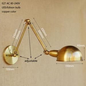 Image 2 - Loft Long Swing arm Industrial Brass adjust Wall Lamp sconce E27 wall lights for bedroom Bathroom Vanity Lights porch lighting