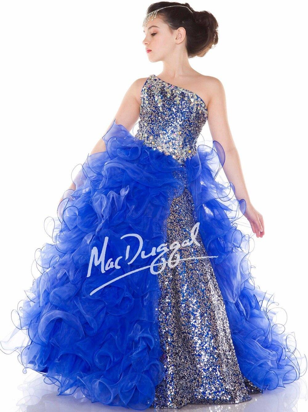 Bright White Blue One Shoulder Flower Girl Dresses Princess Dresses