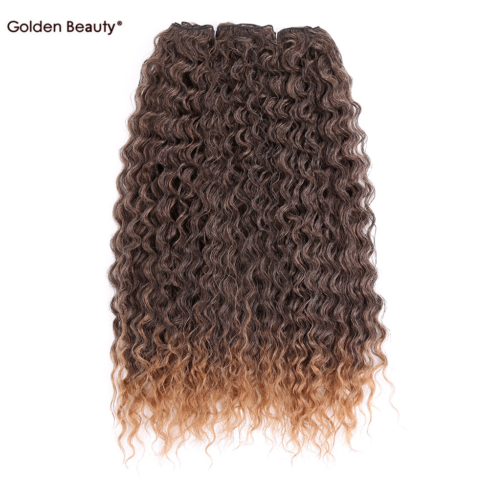20inch long Sew in Noble Gold Hair Extensions Fond girl Synthetic curly weave bundles Weft for