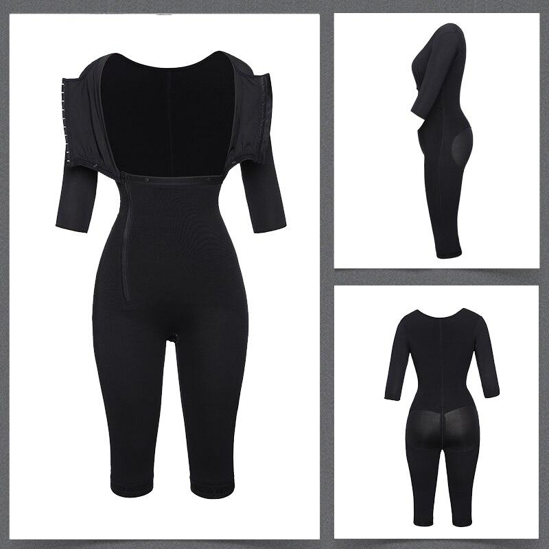 Image 5 - Women Fajas Colombianas Powernet Full Body Shaper Post Surgery BodySuit Waist Trainer Corset Shapewear Tummy Control Arm shaper-in Bodysuits from Underwear & Sleepwears