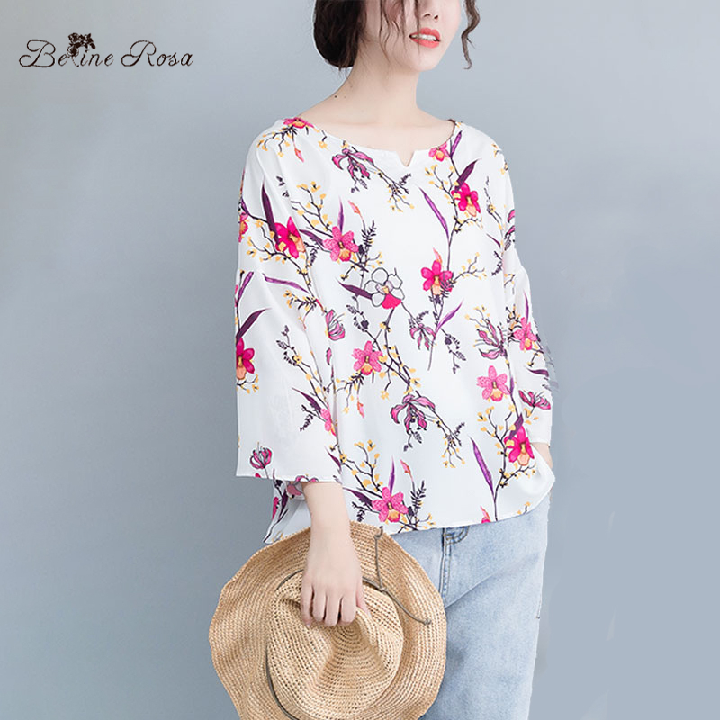 Detail Feedback Questions about BelineRosa Casual Plus Size Women Clothing  2019 Summer Style Flower Printing Women Tunic Sweet V Neck Elegant Clothes  ... f4f69b9a8250