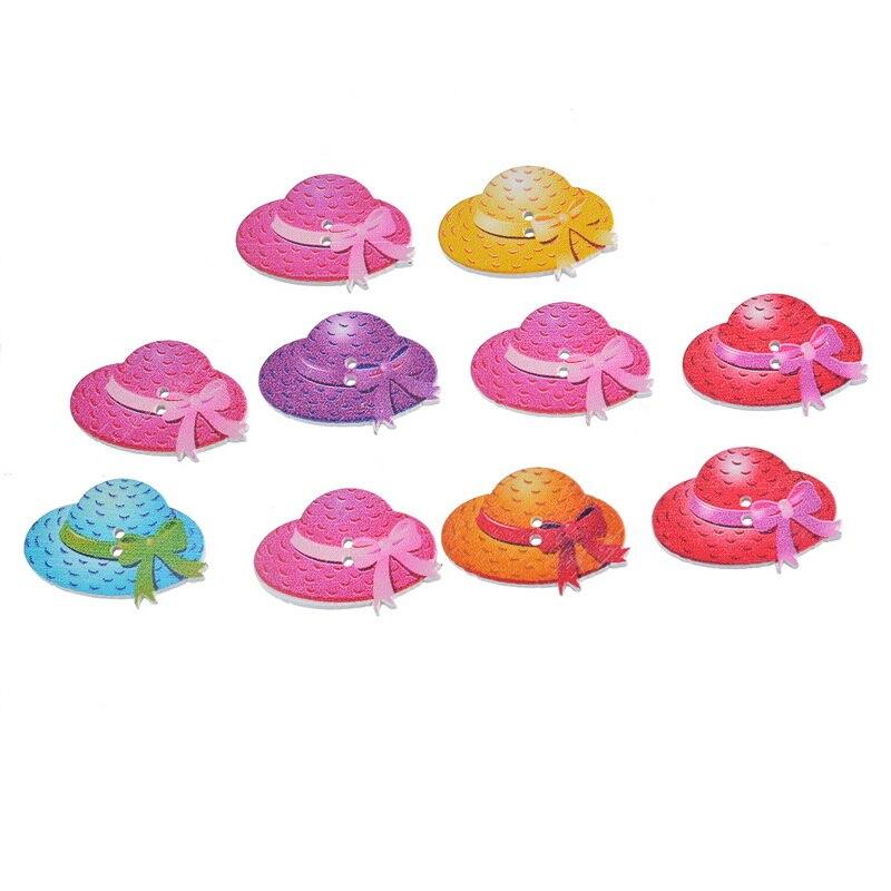2 30 unids multicolor paja forma del sombrero 2 agujeros madera Botones  scrapbooking Costura DIY 2.2 3 cm 6ce3c9bd042