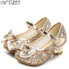 Children Shoes Girls Princess Bling Bow Party Kids Girls Leather With heels Dress Shoes Princess Shoes For Girls Size26-38