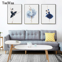 TAAWAA Wall Art Canvas Poster Print Abstract Nordic Watercolor Painting Ballerina Ballet Girls Picture for Living Room Decor