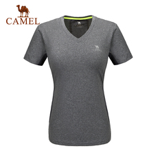 Camel camel for outdoor breathable t-shirt Women short-sleeve V-neck comfortable sports t-shirt