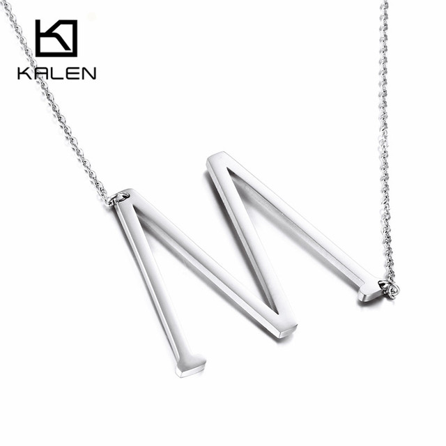 Kalen Cheap Letter M Necklace Jewelry Stainless Steel Capital Pendant For Women Best