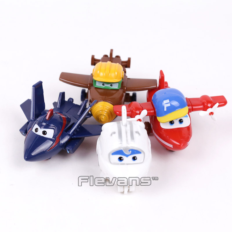 Super Wings Planes Transformation Robot PVC Figures Toys for Kids Boys Gifts 4pcs/set with package 6 pcs set transformation robot cars and bruticus toys action figures block toys for kids birthday gifts