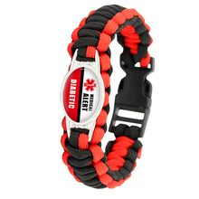 Diabetic Type 1 2 Medical Alert 25*18mm Glass Cabochon Outdoor Survival Paracord Charm Bracelets Men Women Hiking Camping Gift