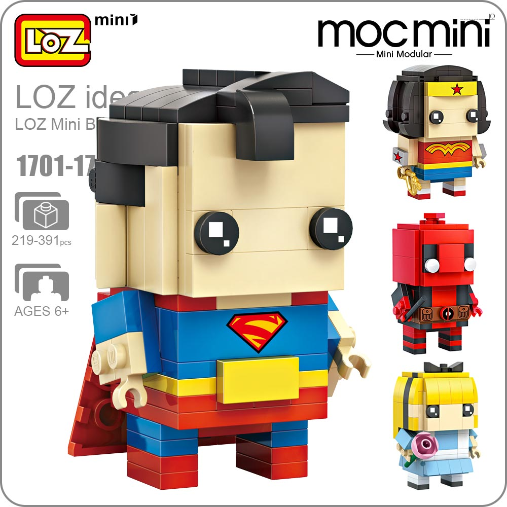 LOZ Mini Blocks Assembly Toy Super Heroes Building Blocks Action Figures Kids Superhero Dolls Toys for Children Bricks 1701-1716 new luxury men watch roman numbers stainless steel quartz wrist watch male clock mens watches relogio masculino 2018