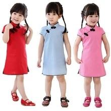 2019 Chinese Style Baby Girls Cheongsam Dress Kids Traditional Qipao Candy Solid Children Cheongsam Cotton&Linen Girl Clothes все цены