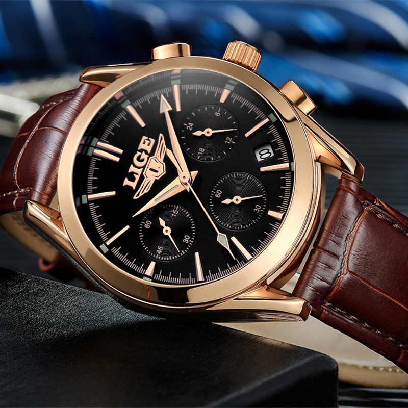 2017 New Fashion Man Watches Top Luxury LIGE Brand Quartz-watch Leather Strap Waterproof Male Business Watches relogio masculino Islamabad