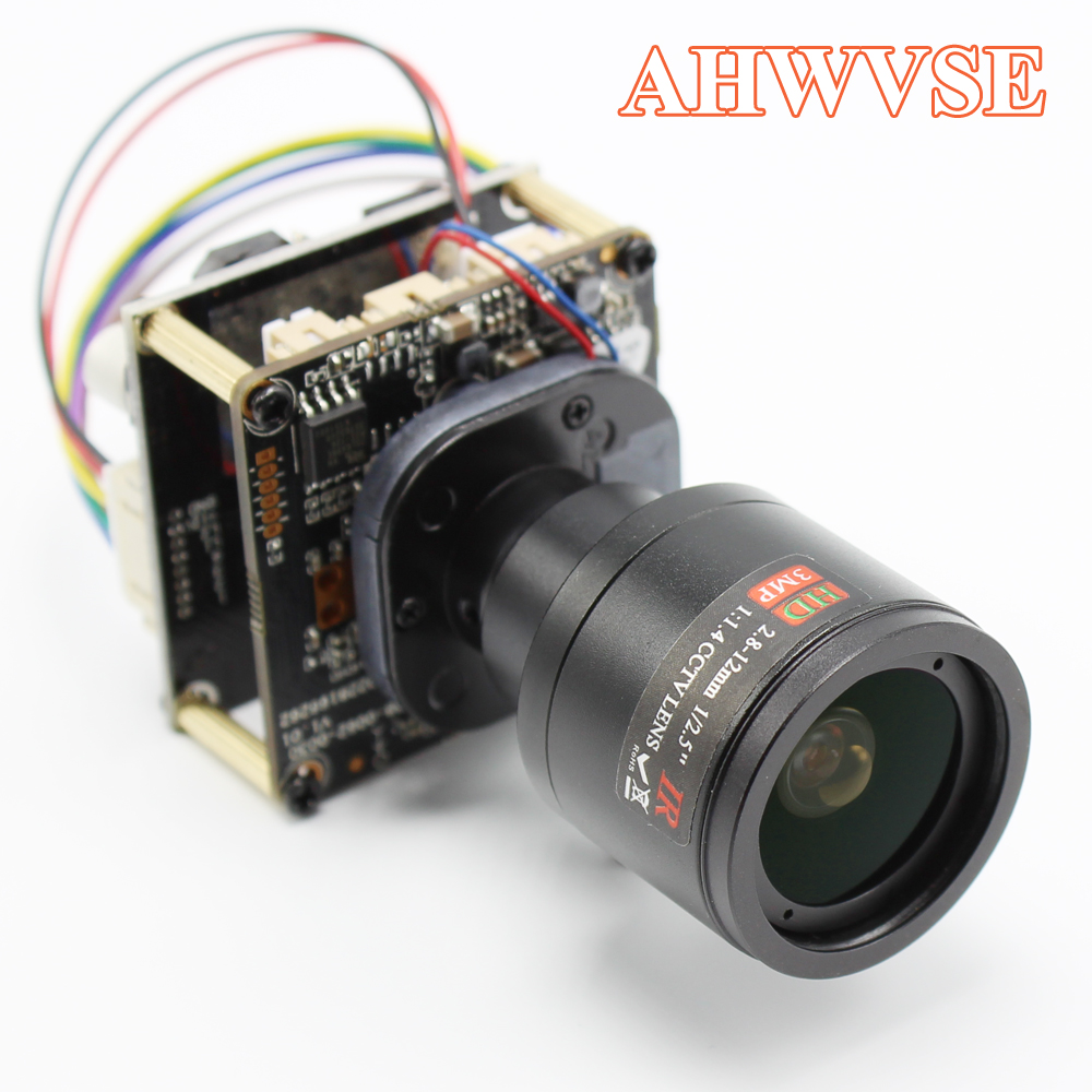 AHWVE 2.8-12mm Lens POE DIY IP Camera Module Board With IRCUT RJ45 Cable  Indoor Camera Mobile APP XMEYE 1080P Hi3518E ONVIF