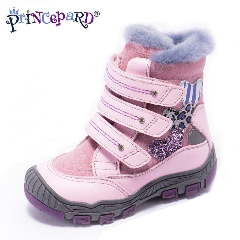 Princepard 100% натуральный мех Натуральная кожа orhopedic обувь для мальчиков девочек 22-36 размер 2018 новая зимняя ортопедическая обувь для дети