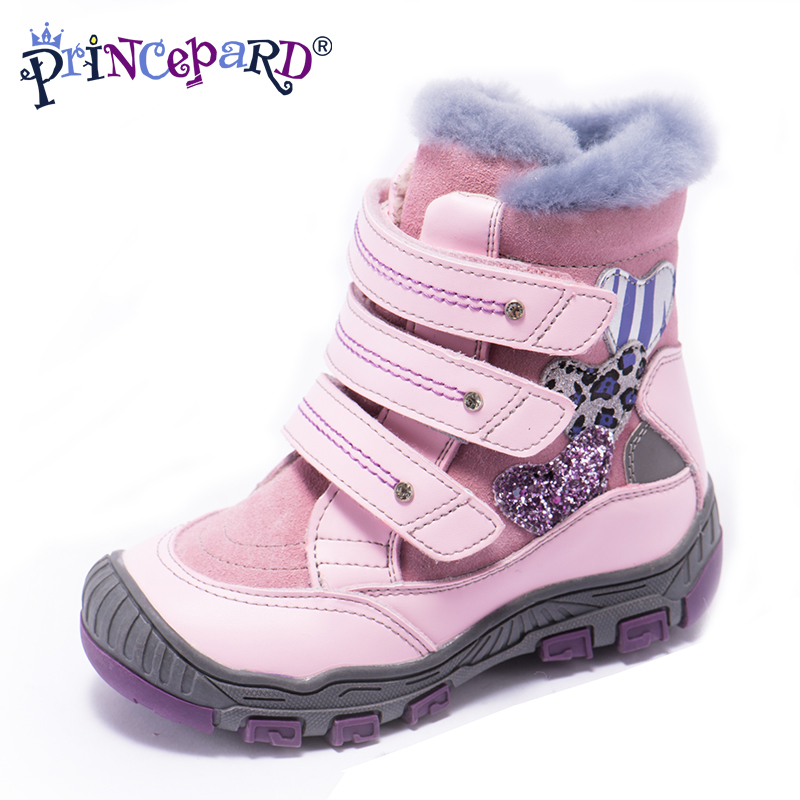 Princepard 100% naturel fourrure véritable en cuir orhopedic chaussures pour garçons filles 22-36 taille 2018 nouveaux hiver chaussures orthopédiques pour enfants
