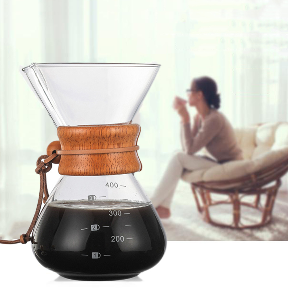 Wholesale High-temperature Resistant Glass Coffee Maker Pot Espresso Machine with  stainless steel filter pot