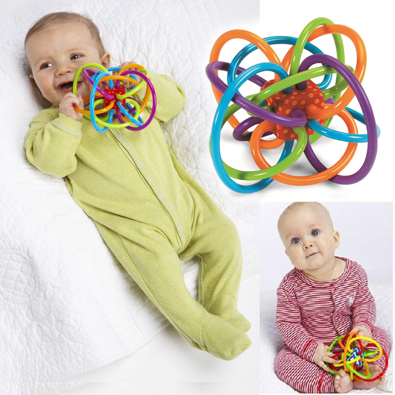 лучшая цена 0-12 Months Baby Toy Baby Ball Toy Rattles Develop Baby Intelligence Baby Toys Plastic Hand Bell Rattle WJ266