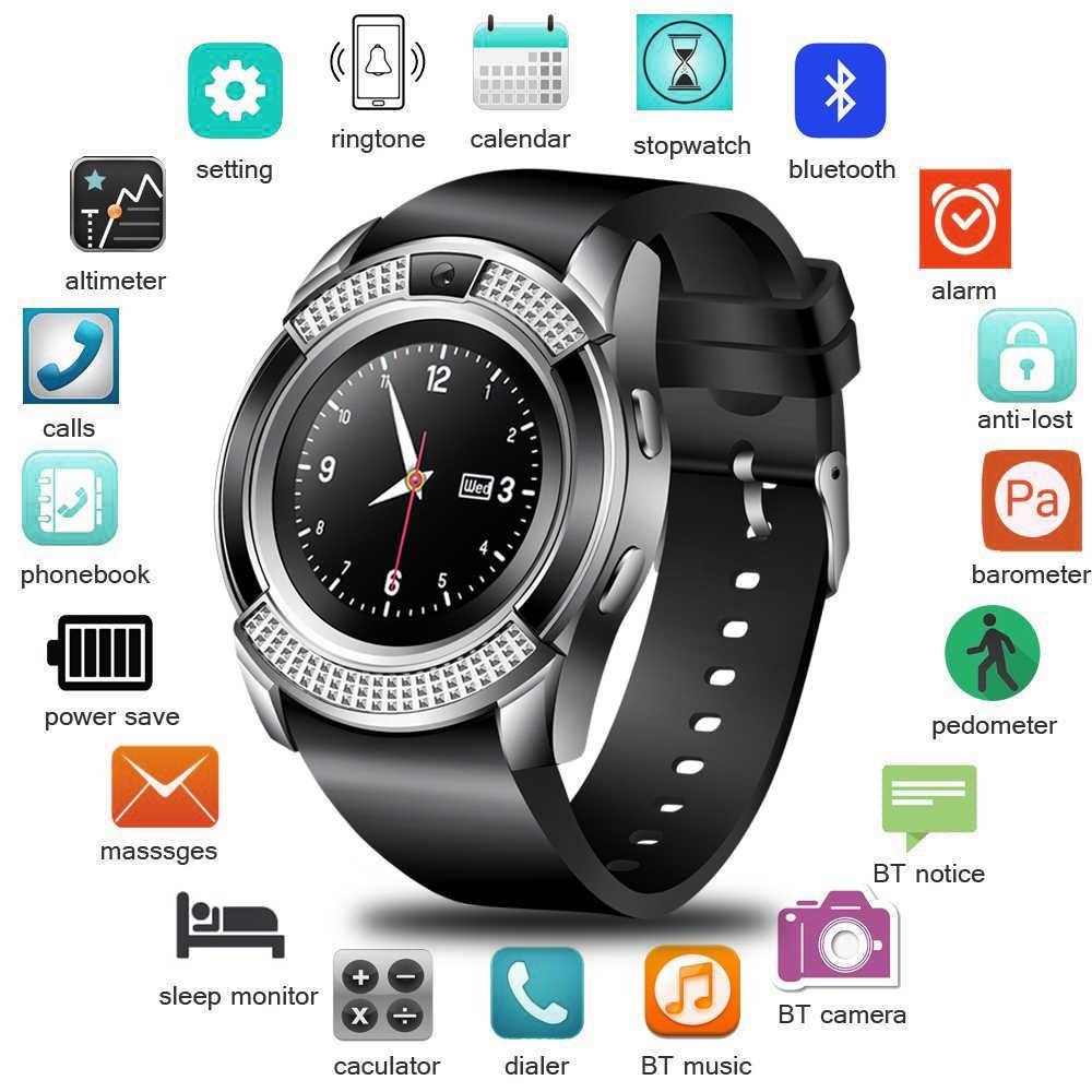 2018 חדש חכם שעון גברים ספורט מד צעדים מידע תזכורת חכם להקת תמיכת כרטיס ה-SIM עבור אנדרואיד נייד טלפון smartwatch