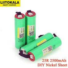 LiitoKala 3.7V 18650 2500mAh 배터리 INR1865025R 3.6V 방전 20A 전용 전원 배터리 + DIY 니켈 시트