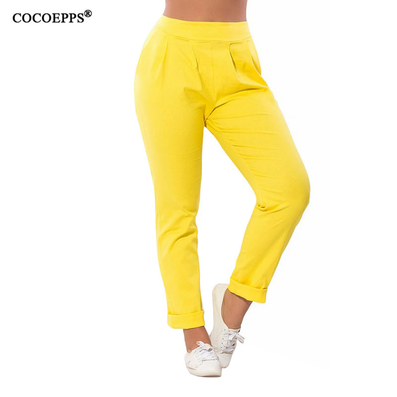 COCOEPPS 2019 New Summer Plus Size Casual Harem Pencil Pants Women Spring Big Size Solid High Waist 4 Colors Long Pants 5XL 6XL