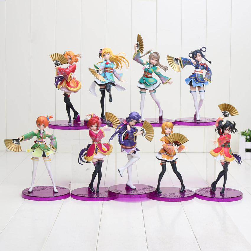 15-19cm Anime Love Live Figure School Idol Project PVC Action Figures Toys Honoka Kousaka Project Action Figure Toy love live school idol project cyber video games ayase eli light up slip dress tee dress uniform outfit anime cosplay costumes