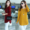 Large size women's 2017 spring Korean version sweater fat sister in the long section of clothing sweater coat simple fashion new