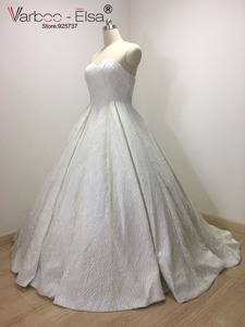 Image 3 - VARBOO_ELSA 2018 Sevgiliye Kolsuz Gece Elbisesi Beyaz Payetli Parlak Balo Elbise Lüks Balo Custom vestido de festa