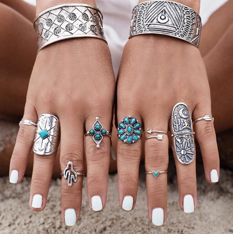 9Pcs/ blue stone Bohemian Ring Set Vintage Steampunk Cross flowers Anillos Ring Knuckle Rings for Women Gift 2017 New Jewelry