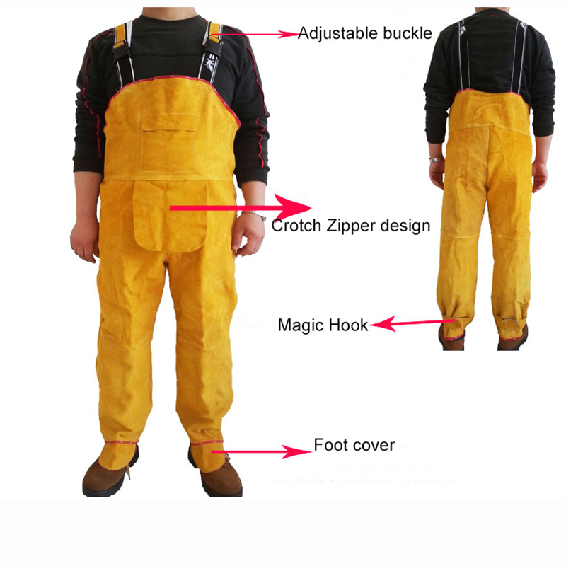Welding Safety Clothing Flame Retardant Pure Leather Welder Protective Clothing Anti-scalding Welder overalls Workplace Clothes (55555)