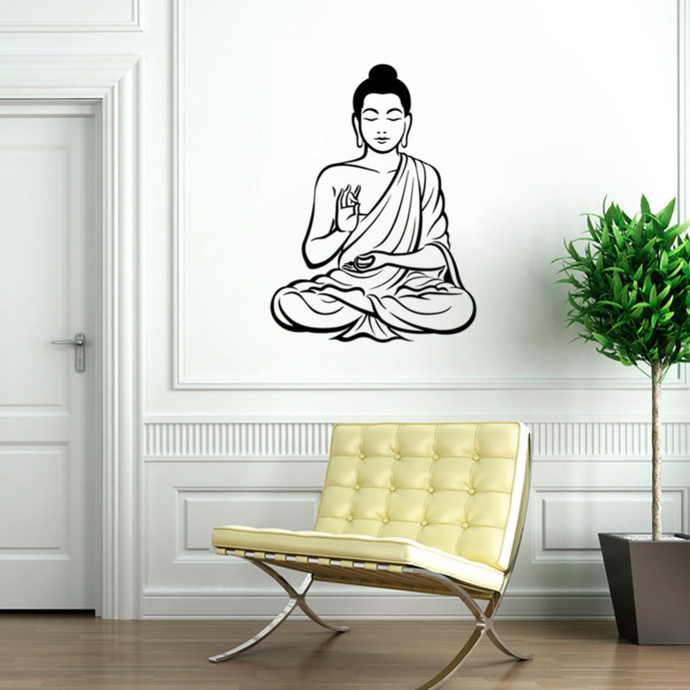 C220 meditating buddha wall sticker religion decal home for Buddha wall mural